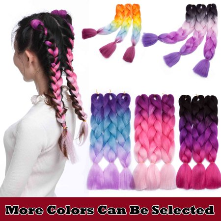 S-noilite Jumbo Braiding Hair Extensions High Temperature Kanekalon Synthetic Ombre Twist Hair Multiple Tone Colored Jumbo Braiding Hair (Ombre Hair Brown To Blonde Medium Length)