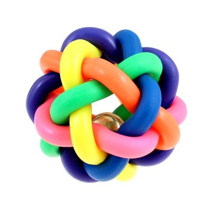 Pet Dog Rubber Cord Woven Jingle Bell Play Ball Toy Colorful 8cm (Jingle Crinkle Ball)