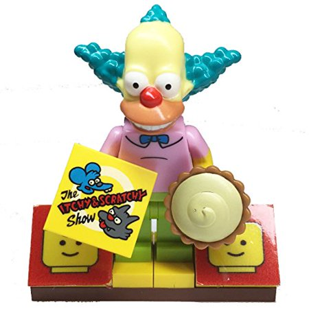 MinifigurePacks: Lego Simpsons Bundle (1) Krusty the Clown Minifigure (1) Figure Display Base (2) Figure Accessory's (Custard Pie - 'The Itchy & Scratchy Show' Decorative Tile) - Krusty The Clown