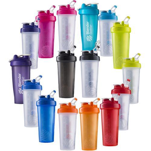 Blender Bottle 2-Pack Classic 28oz Shaker w/ Loop Top-Clear/Prple & Clear/Blue