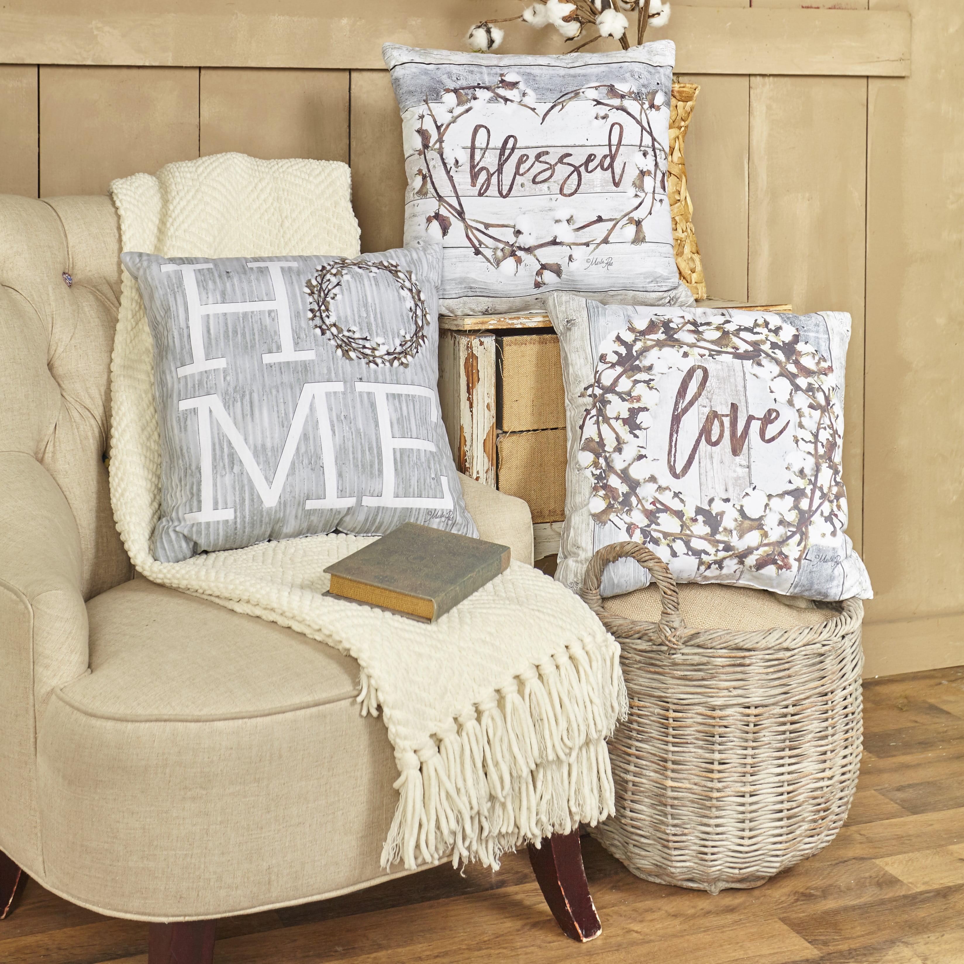 Cotton Boll Accent Pillows With Farmhouse Sentiments 3 Pcs Walmart Com Walmart Com
