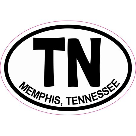 3in x 2in Oval TN Memphis Tennessee Sticker Vinyl Decal Vehicle