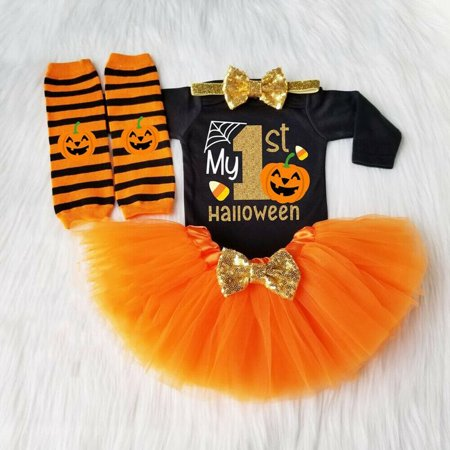 Cheetah Girls Halloween Outfits (My 1st Halloween Baby Girl Pumpkin Outfits Romper Jumpsuit+Tulle Skirt Set)