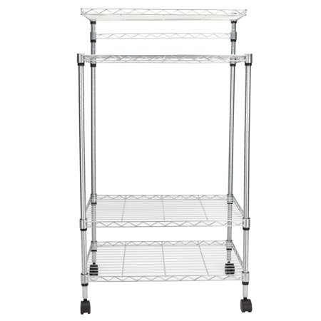 Clearance! Storage Carts, SEGMART 4-Tier Kitchen Island On Wheels, Heavy Duty Storage Shelves with 2-Tier Shelves, 2 Top Shelf, Hanging Bar, Metal Bakers Rack Holds up to 176 lbs, Q1524 ()