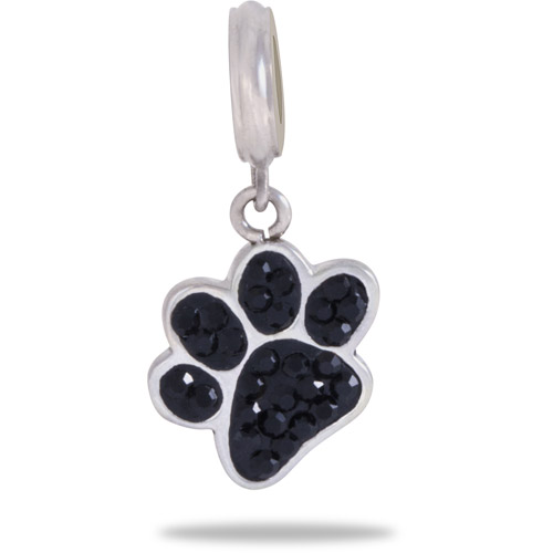 Connections from Hallmark Crystal Accent Stainless Steel Black Paw Print Charm