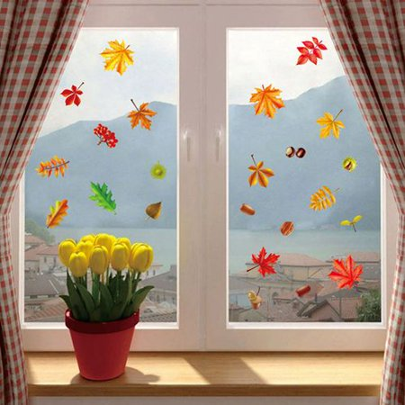 Autumn Leaf Decorations (KABOER Thanksgiving Window Stickers Fall Autumn Leaves Window Maple Window Fruit PVC Sticker Thanksgiving)