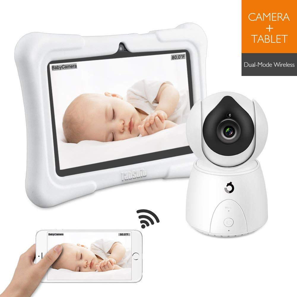 [Upgraded] Dragon Touch Future 1 Video Baby Monitor with 7 Inch IPS LCD Touch Screen Tablet, Temperature Monitoring, Remote Pan-Tilt, Lullaby, Night Vision, Two Way Audio Wireless Baby Monitor