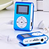 Metal Clip Digital MP3 Player LCD Screen for 2/4/8/16GB TF Card Blue