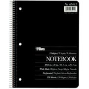 TOPS 65012 Notebook  wide rule  3-subject  white  assorted color covers  120 SH per BK