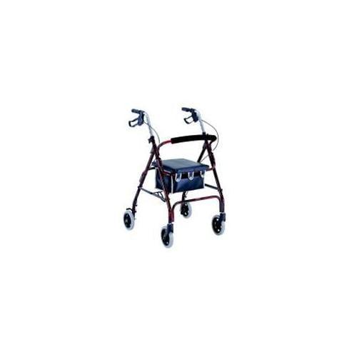 Merits W462BLACK 4-Wheeled Rollator  Aluminum  Loop Brake  6 Inch Wheels - Black