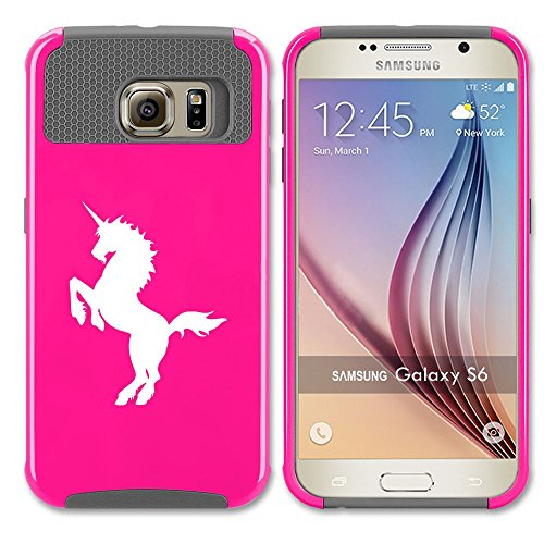Samsung Galaxy S7 Shockproof Impact Hard Case Cover Unicorn (Hot Pink-Grey ),MIP