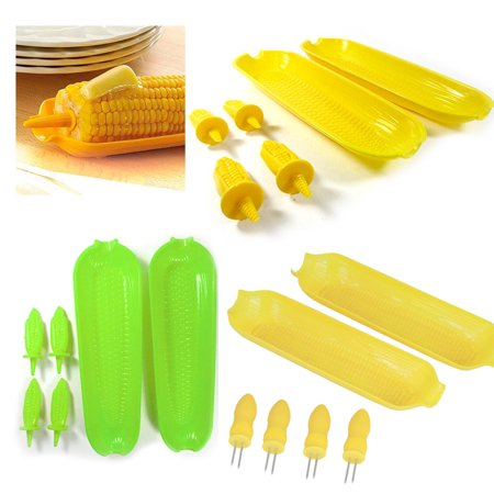 12 Pc Corn On The Cob Serving Set Dish Tray Server Skewers Prongs Holder Kitchen