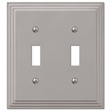 Step Design Double Toggle Wall Switch Plate Cover - Satin Nickel Antler Double Switch Cover