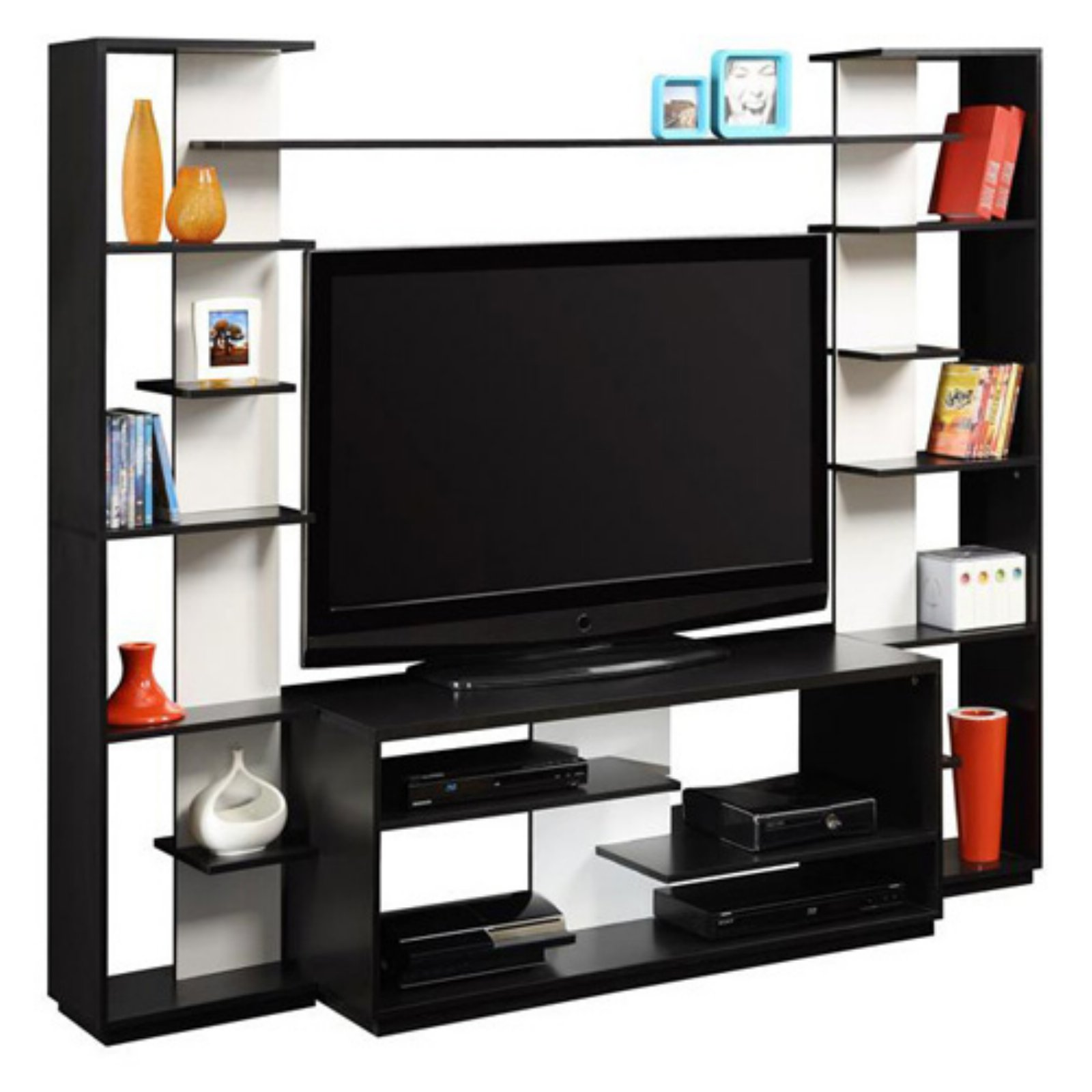 Altra Black and White Home Entertainment Center with Two Reversible Back Panels for TVs up to 45