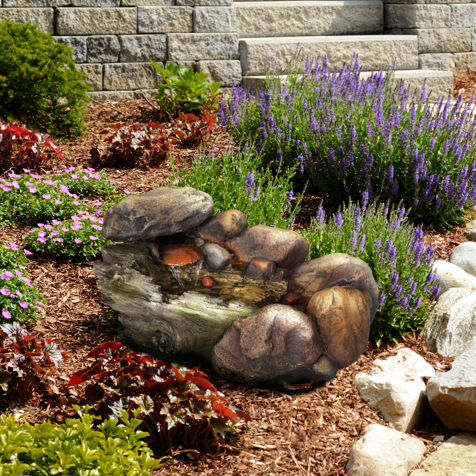 Pure Garden Cascading Stone Outdoor Fountain
