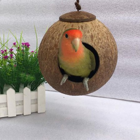 Coconut Nest - Natural Coconut Shell Parrot Nest Hut House Cage for Birds Coconut shell nest