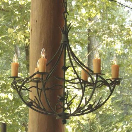 6 Arm Chandelier with Amber Candle Drip Cover