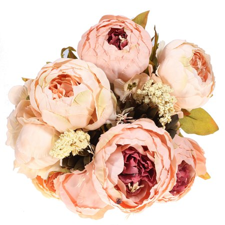 Meigar Springs Flowers Artificial Silk Peony Bouquets Home Garden Wedding Party Bridal Bouquet Decor Valentine's Day (Striking Spring Bouquet)