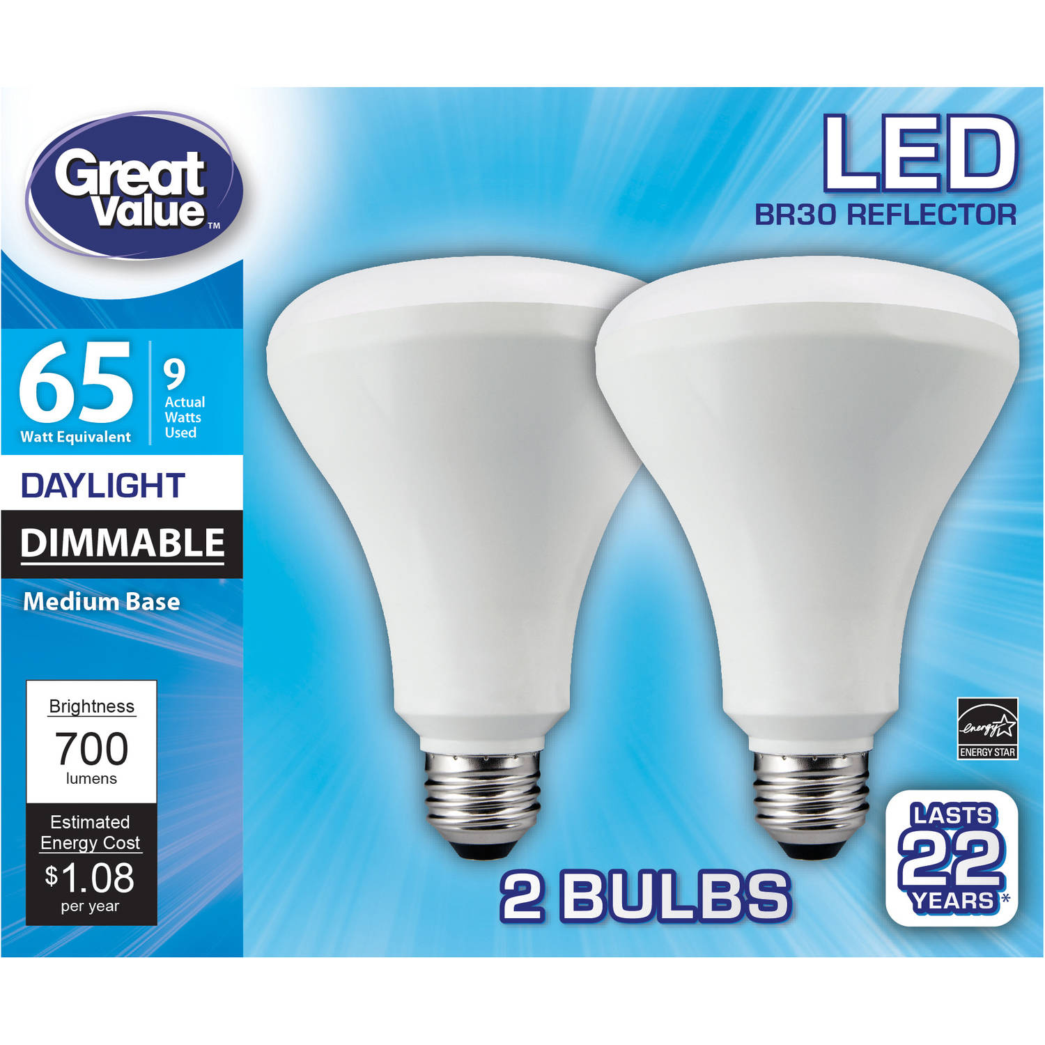 Great Value LED Light Bulbs, 9W (65W Equivalent), Dimmable, Daylight, 2-Pack