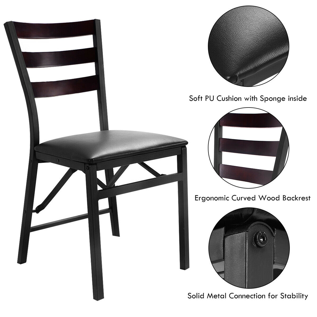 Gymax 2PC Folding Chair Home Restaurant Furniture - image 6 of 8