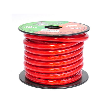Pyramid 4 Gauge Clear Red Power Wire 25 ft. OFC
