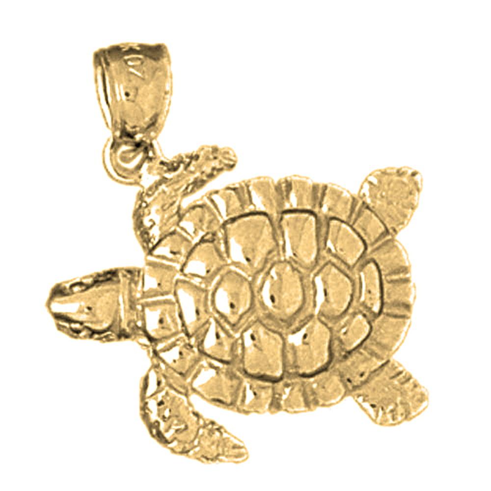 10K Yellow Gold Turtles Pendant - 25 mm