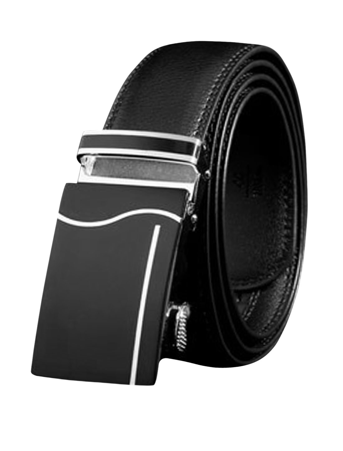 Men's Automatic Buckle Holeless PU Leather Ratchet Belt Black