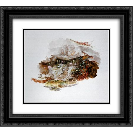 John Ruskin 2x Matted 22x20 Black Ornate Framed Art Print 'Study of Foreground Material