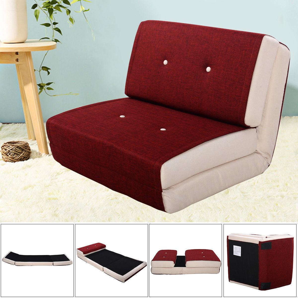 Goplus fold down chair flip out lounger convertible sleeper bed couch dorm burgundy walmart com