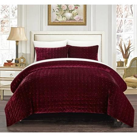 Chic Home Cynna 3 Piece Comforter Set Luxurious Hand Stitched Velvet (Velvet 5 Piece)