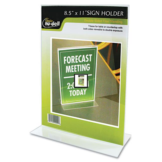 Glolite Nudell, Llc 38020Z Clear Plastic Sign Holder, Stand-Up, 8 1/2 x 11