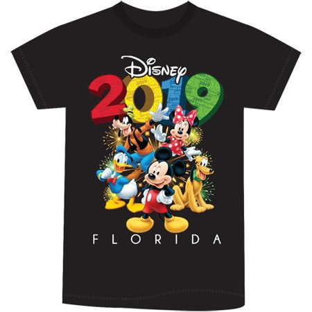 Disney Youth Unisex 2019 Dated Fun Friends Mickey and Group (FL namedrop) Small Black Tee - Mickey And Friends