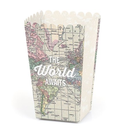 Party Favor Popcorn Boxes (World Awaits - Travel Themed Party Favor Popcorn Treat Boxes - Set of)