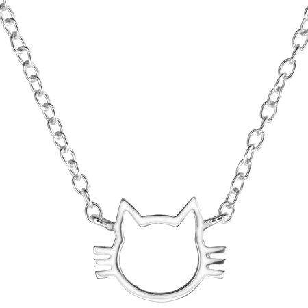 Sterling Silver Cat Head Motif Station Pendant Necklace
