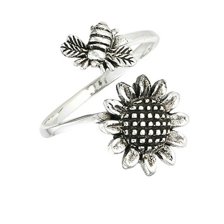 Open Adjustable Bee Sunflower Flower Thumb Ring Sterling Silver Band Size
