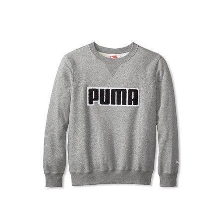 Puma Mens Fleece Crew Sweatshirt, Medium Grey Heather, M