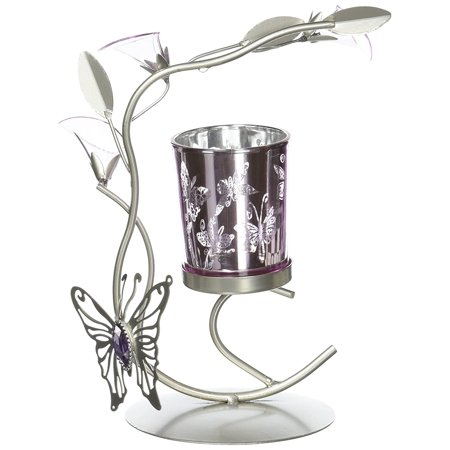 Tama Tom Holder (Silver & Purple Butterfly Lilly Candle Holder Metal Sculpture Home Wedding or Party DecorImported By Tom Co)