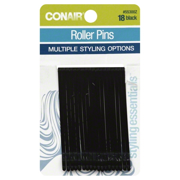 (4 Pack) Conair Styling Essentials Roller Pins, Black, 18 count