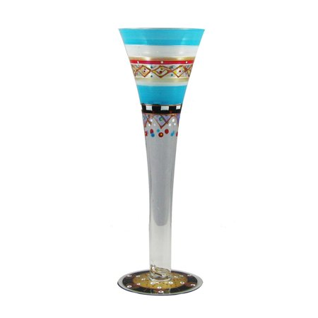 Set of 2 Mosaic Carnival Confetti Hand Painted Hollow Stem Flute Glass - 16 Oz.