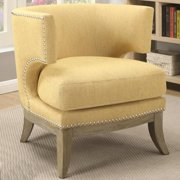 A Line Furniture Luxenberg Mid Century Modern Barrel Back Design Yellow Accent Chair with Nailhead Trim