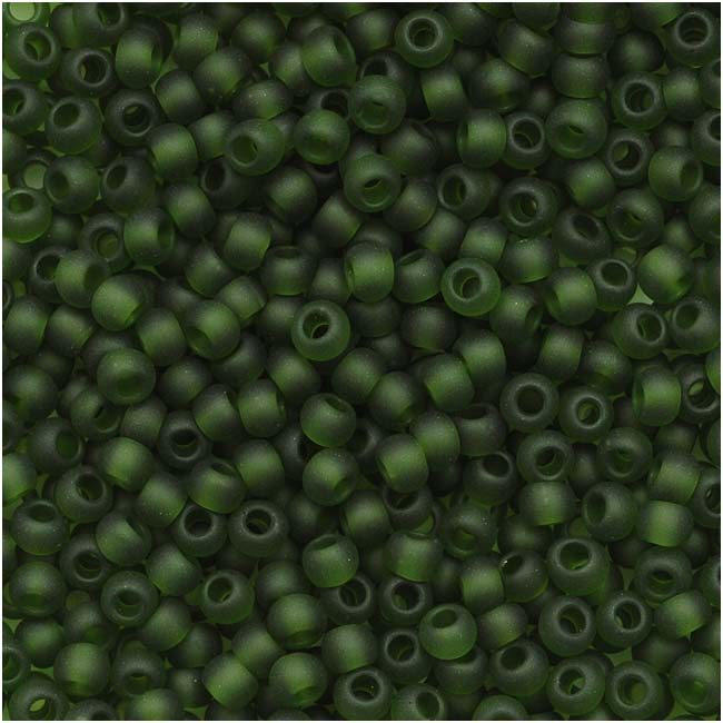 Toho Round Seed Beads 11/0 #940F 'Transparent Frosted Olivine' 8 Gram Tube
