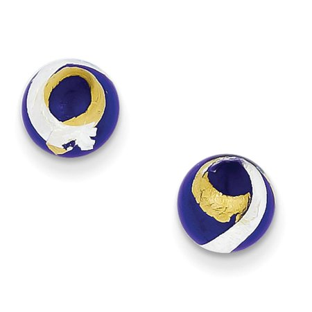 Ladies 925 SS 8mm Blue, Gold & Silver Color Italian Murano Post Stud Earrings 925 Ss Post Earring