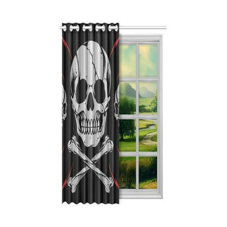 YUSDECOR Cool Skulls Bone Cross Window Curtain Living Room,Bedroom Window Drapes 52x84 inch - image 1 de 3