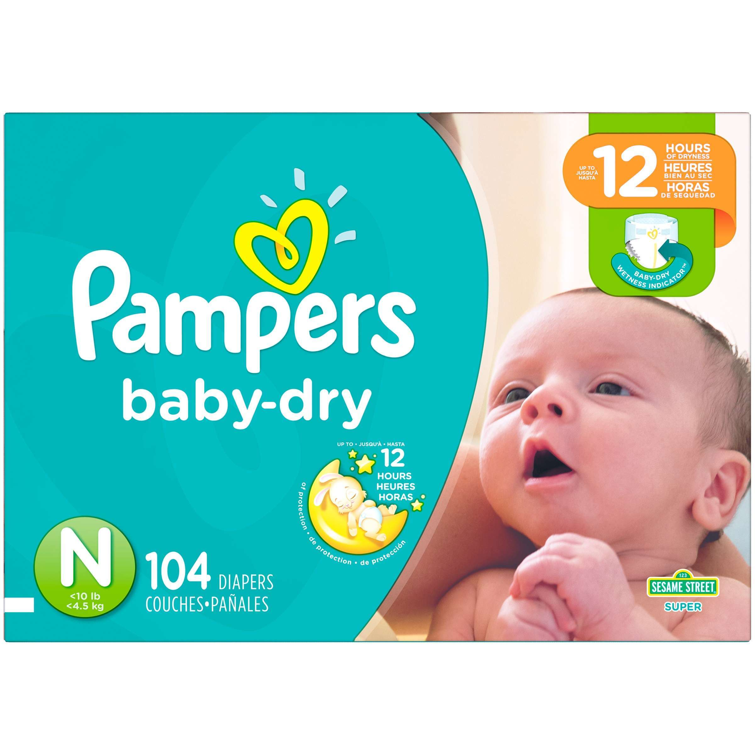 Pampers Baby Dry Diapers, Size Newborn, 104 Diapers