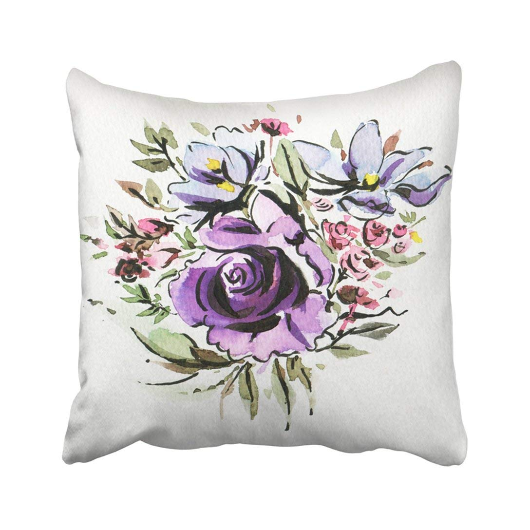 BPBOP Abstract Bouquet With Purple And Blue Flowers Drawing Ink And Watercolor Beauty Bloom Pillowcase Pillow Cover 16x16 inches