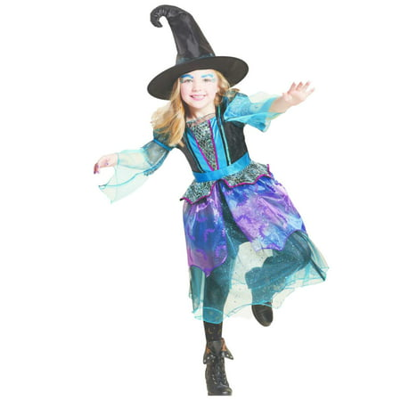 Mystery Dress Costume - Girls Mystery Witch Child Halloween Costume Blue Sparkly Witch