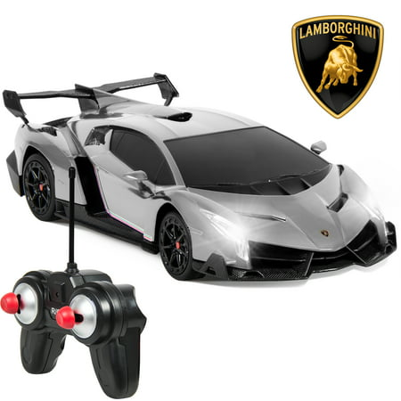 Best Choice Products 1/24 Officially Licensed RC Lamborghini Veneno Sport Racing Car w/ 27MHz Remote Control, Head and Taillights, Shock Suspension, Fine Tune Adjustment - Silver - New Style Race Car