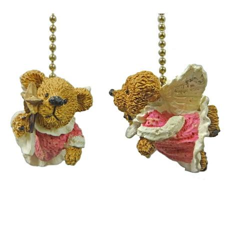 Angel Teddy Bear Ceiling Fan Pull Ornaments, Set Of 2