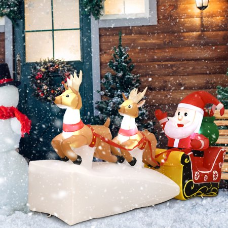GHP 7' Polyester Waterproof LED Inflatable Santa Claus On Sleigh with 2 Reindeers for $<!---->