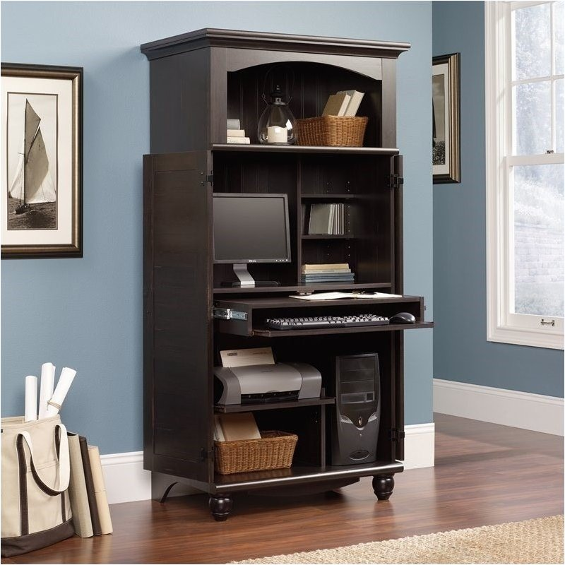 Pemberly Row Computer Armoire In Antiqued Paint Walmart Com